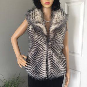 Jack by BB Dakota, Faux Fur Zebra Stripped Vest